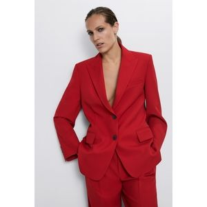 Zara Red Blazer with flap pockets